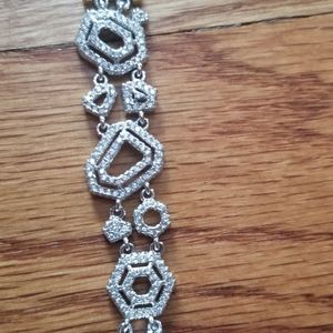 "Sold White ""ice"" topaz modern Geo. 925 bracelet"